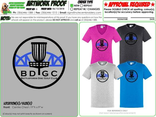 Battlefords Disc Golf Club (Assorted TShirts Logo 2018)